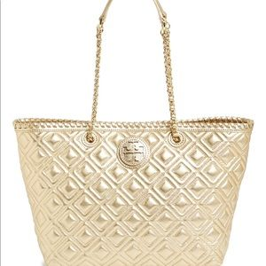 Tory Burch Gold Marion Quilted Tote Handbag